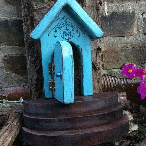 Fairy door fairy garden door that opens blue fairy by for Wooden fairy doors that open