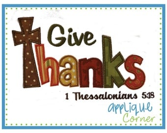 INSTANT DOWNLOAD Give Thanks Thanksgiving applique digital design for embroidery machine by Applique Corner