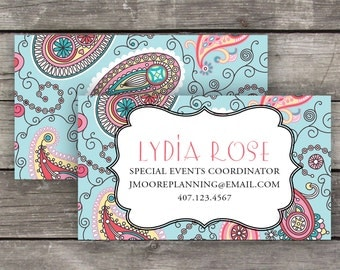 Printable Business Cards / Calling Cards - Teal Paisley