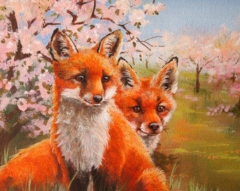 red foxes in orchard in bloom original acrylic painting animals wildlife