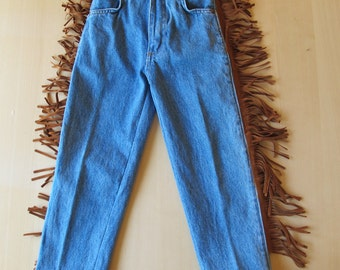 80s French Toast Boys Cowboy Jeans with Fringed Sides, Deadstock, Size 5