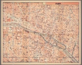 PARIS FRANCE Map fabric... perfect for DIY projects... original, spoonflower... 14.5 by 18 inches