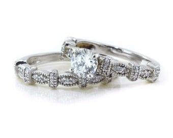 Moissanite Wedding Set With Diamond Side Stones 14k Gold  Ring Name Vintage Vixen