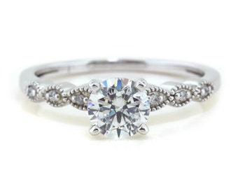 Vintage Moissanite Engagement Ring Thin Diamond Band Petitte