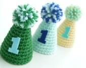 Mini Party Hat--First Birthday Hat--Custom colors--Crochet Birthday Hat--Elastic headband--Boy or Girl
