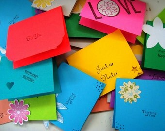 25  mini cards - Mini thank you cards - just a note - sorry - love you - colorful assortment of small cards - handmade - hand stamped