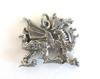 Vintage Silver Ornate Dragon Charm