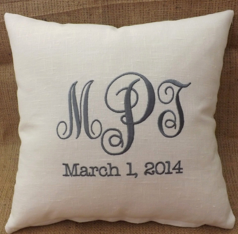 Linen Monogram Throw Pillow: Monogram Linen Pillow Embroidery Custom Personalized