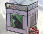 Pet Urn Small #2C - 3 Photo window Cremation Urn in Stained Glass