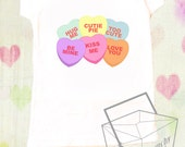 CSD Valentine's Day Girls Shirt, Conversation Hearts Shirt, Valentine's Day Outfit, Retro Photo Prop Shirt, Sweethearts, Vintage Shirt - CrunchySushiDay
