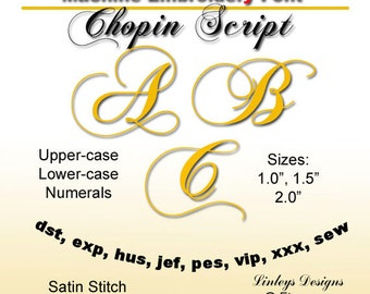 Download Machine Embroidery Alphabet: Chopin Font.