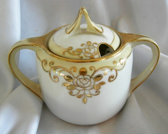 White Porcelain with Hand Painted Gold Moriage Detail Sugar Condiment Bowl - Signed NIPPON - Vintage Circa 1950s