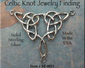 Sterling Silver Celtic Y Connector, Celtic Jewelry Centerpiece, Jewelry Making Supplies, Celtic Y Necklace Connector - SE-0021