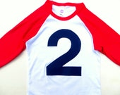 Birthday Shirt Red and White Raglan Number 2 Baseball Shirt for 2nd Birthday two boys 2nd birthday shirt navy blue 2