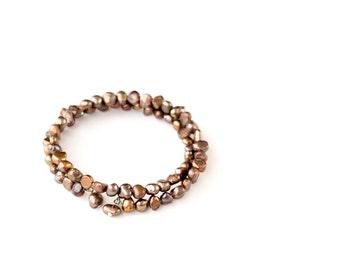 Fun freshwater Pearls memory wire bracelet,  Coil Wrap Bracelet, Golden Brown bracelet