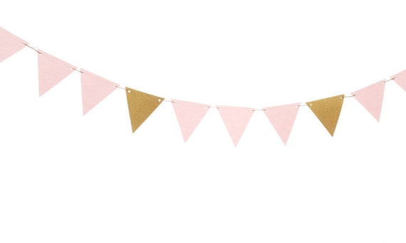 Pink and Gold Triangle Flag Banner / Pink and Gold Pennant