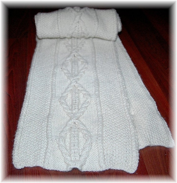 """Cashmere Scarf for Men """"Valdes Island"""" with centre cable, hand knit in pure Cashmere - a special gift for any occasion"""