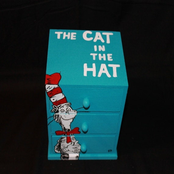 Cat in the hat dr seuss storage box jewelry by for Cat in the hat jewelry