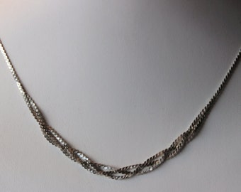 Vintage Sterling Silver braided woven flat herringbone chain 19 inches - 6.3 grams sterling. 1980's. excellent condition.