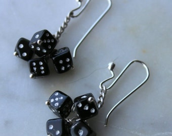 sterling silver earrings with vintage1940s West German  black glass dice and handmade sterling silver french ear wires by Reneux