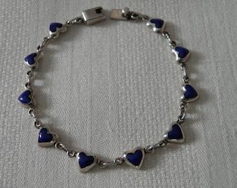 Sweet Lapis Sterling Silver Heart Bracelet