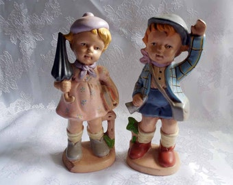 Ceramic Hummel Boy and Girl Figurines
