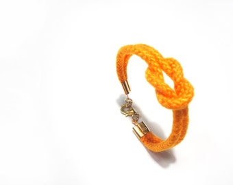 Yellow square knot rope bracelet