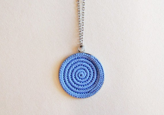 Long Blue Pendant Necklace, Crochet Boho Jewelry, Bohemian Blue Pendant, Knitted Jewelry, Blue Statement Necklace. Gift Ideas for Her.