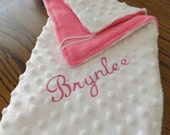 Monogrammed mini blankie or lovie for Baby or child ,has connecter for teething ring or paci .Both sides are soft minky
