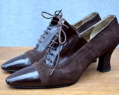 On Hold - 1980s Victorian Style Lace up Boots, Brown Leather, Two Tone, Anne Klein, Size 8