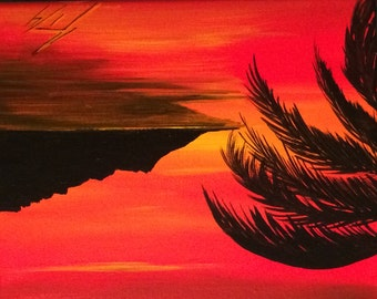 Palm Tree Silhouette at Red Dawn - Original Framed Painting - Last day at this SALE price