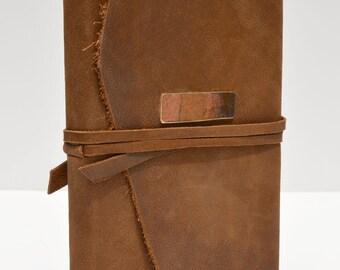 Leather Bound Handmade-to-Order Custom Western Saddlebag Journal Adventure Ledger Notebook (345C)