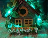 Enchanting ...Little  Cottage Fairy House ...Lights.......OOAK