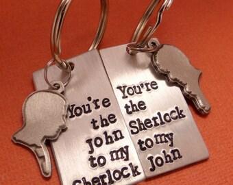 Sherlock Inspired - Watson To My Sherlock and Sherlock to my Watson - A Pair of  Hand Stamped Aluminum Keychains