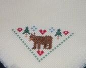 Mini Holiday Bread Cloth with Bear - Bread Cover - Cross Stitch