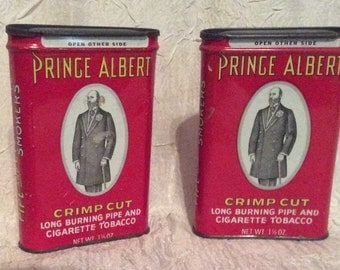 Vintage Set of 2 Prince Albert Hinged Lid Tobacco Tins, Crimp Cut Pipe and Cigarette Tobacco