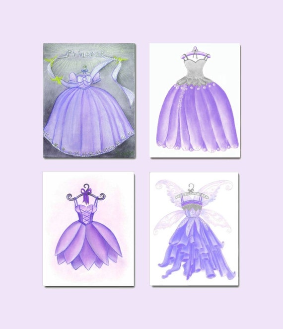 Princess fairy decor purple dress nursery wall art by for Purple dining room wall art