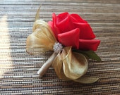 Red Rose Boutonniere,  Elegant Red Rose with gold organza, champagne ribbons and rhinestone accent