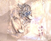 Destash Bird Charms Two Large Birds on Perches & 6 Flying Dove Charms