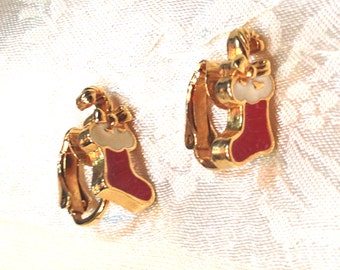 Vintage Christmas Stocking Earrings Red & Gold Clip Ons Estate Jewelry