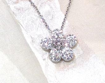 Austrian Crystal Flower Necklace Handmade Jewelry Edelweiss Alpine Flower Necklace