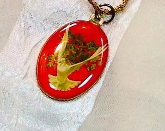 Vintage Christmas Dove Necklace Estate Jewelry