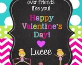 26 Children's Personalized  Valentines  Day Cards  plus matching round sticker seals, gymnastics