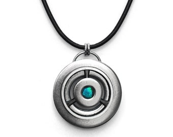 Cool Mens Necklace, Stainless Steel Pendant, Black Leather Cord, Metalwork, Customizable