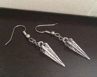 Silver Spike Earrings, Dagger Earrings, Rocker Jewelry, Dangle Earrings, Stainless Steel French Hook Wires