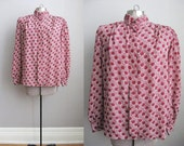 1980s Vintage Blouse Print Polkadot Burgundy Top Long Sleeve Shirt / Large XL