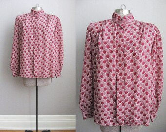 1980s Vintage Blouse Print Polkadot Burgundy Top Long Sleeve Shirt / Large XL