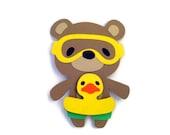 Teddy Bear Swimmer Card - Teddy and Swim Float Card - Teddy Bear Cards -  Kids Cards - Animal Cards
