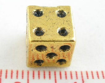 4 Pieces Gold Tone Dice European Beads