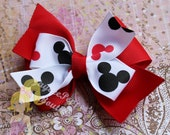 Mickey Mouse hair bow Disney bottle cap pinwheel black red white polka dots Mickey silhouette hair bow